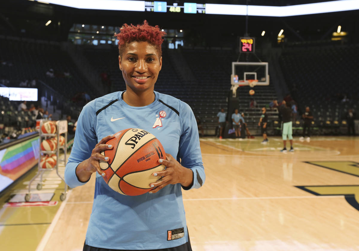 In this Thursday, July 19, 2018 photo, Atlanta Dream's Angel McCoughtry poses before a WNBA bas ...