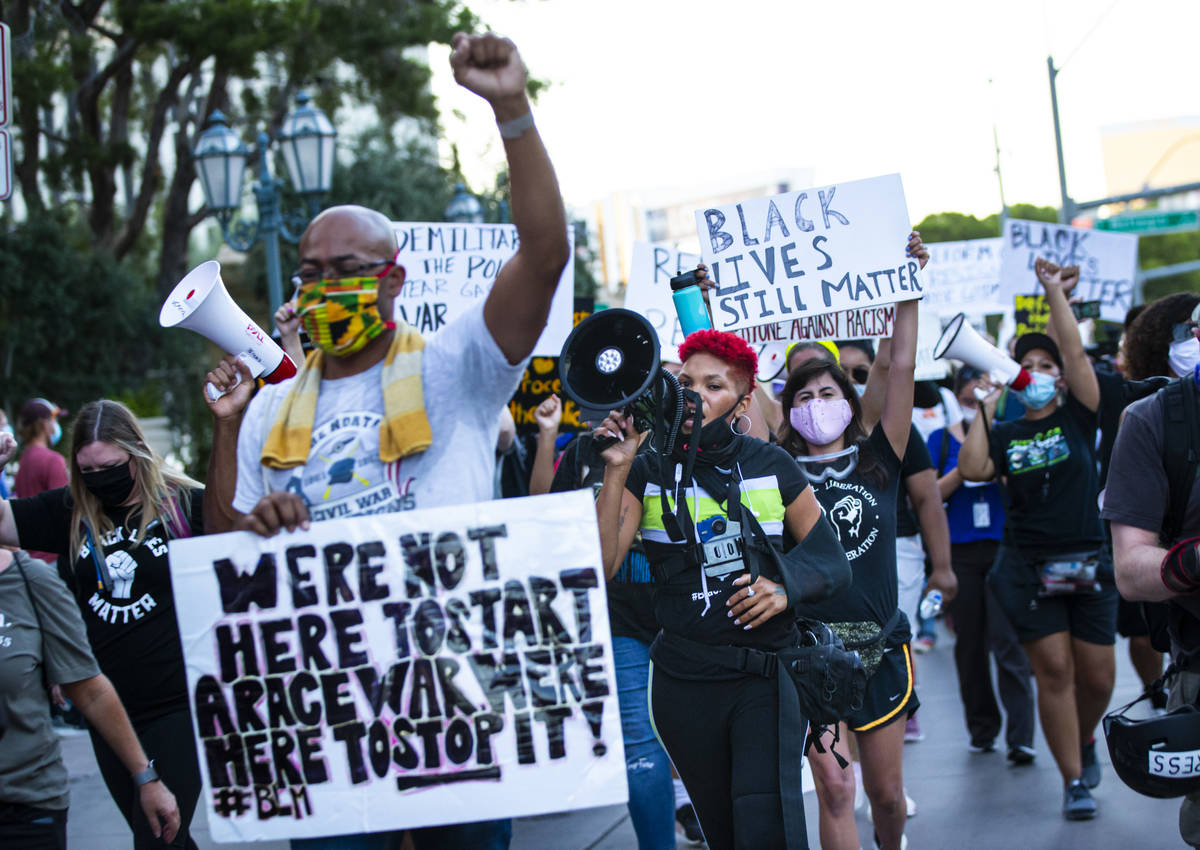 Zyera Dorsey leads a march during a Black Lives Matter rally on the Las Vegas Strip on Saturday ...