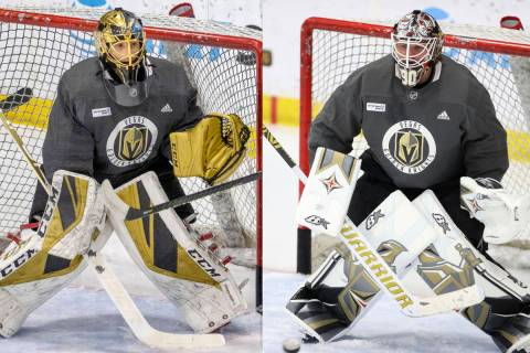 Vegas Golden Knights goaltenders Marc-Andre Fleury, left, and Robin Lehner, right. (L.E. Baskow ...