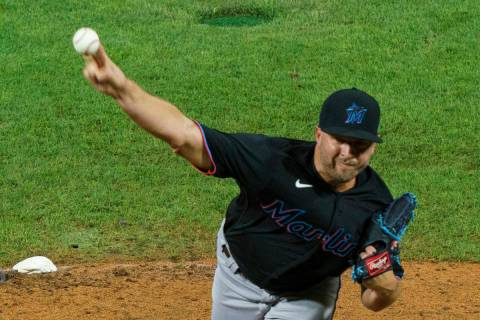 Miami Marlins relief pitcher Brandon Kintzler throws during the ninth inning of a baseball game ...