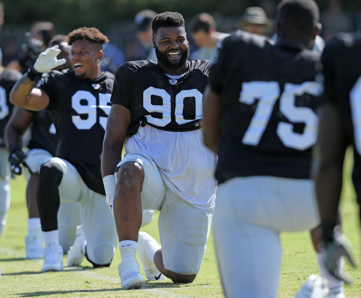 Oakland Raiders defensive tackle Johnathan Hankins (90) stretches during the NFL team's joint t ...