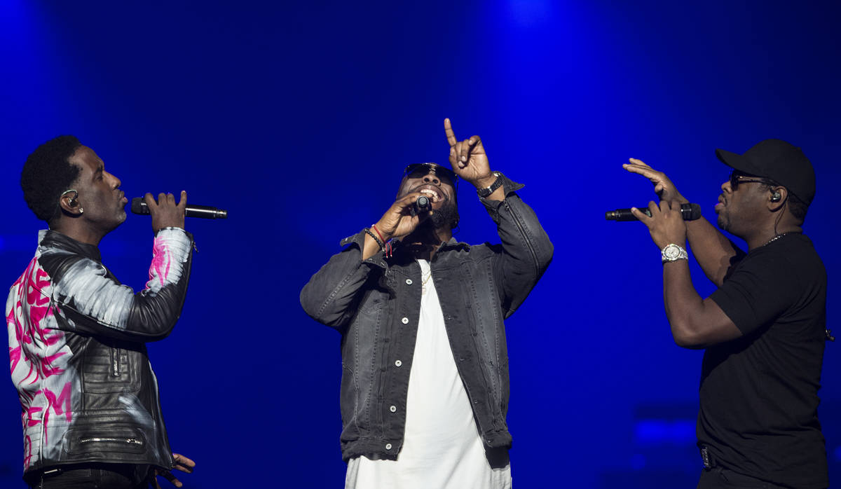 Boyz II Men perform during the Vegas Strong Benefit Concert at T-Mobile Arena on Friday, Dec. 1 ...