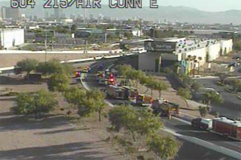 A truck spilling asphalt forced the closure of a ramp at the 215 Beltway near the airport conne ...