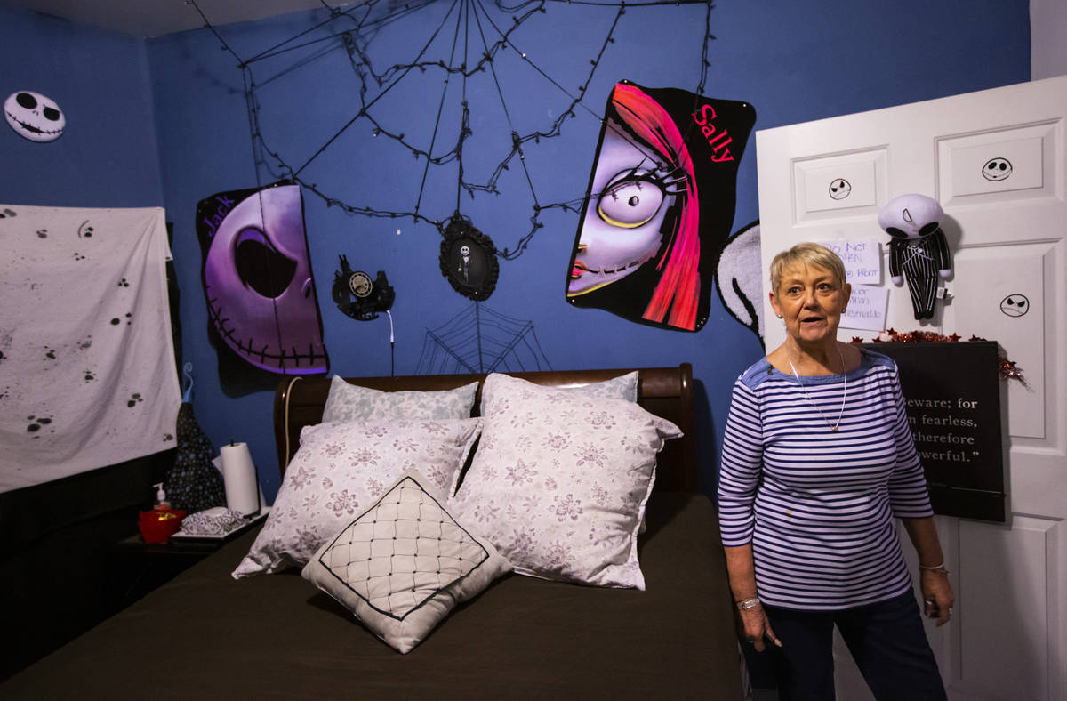 """Joyce Judge talks in a room themed after the """"Nightmare Before Christmas"""" at The Studios, a """" ..."""