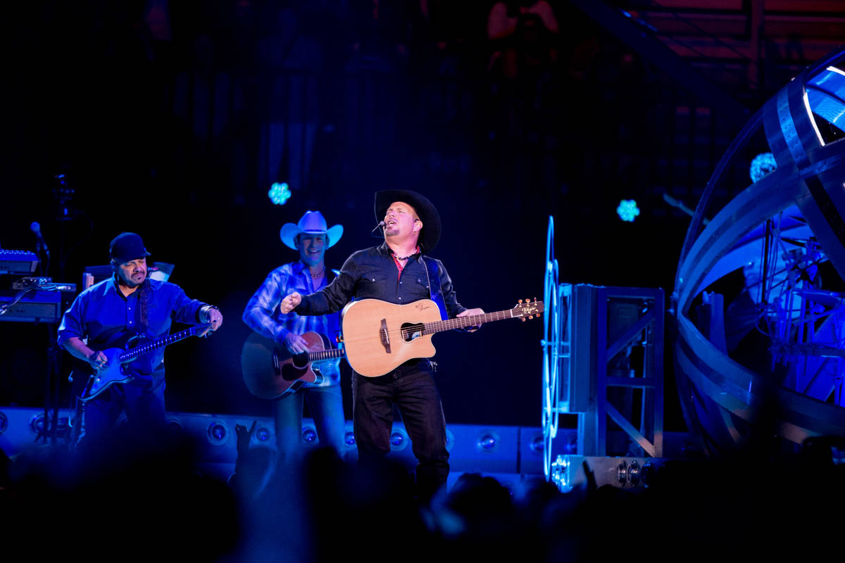 Country music star Garth Brooks performs at T-Mobile Arena Friday in Las Vegas as part of a wor ...