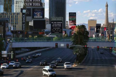 Traffic on Las Vegas Boulevard near Tropicana Avenue in Las Vegas, Monday, July 27, 2020. (Erik ...
