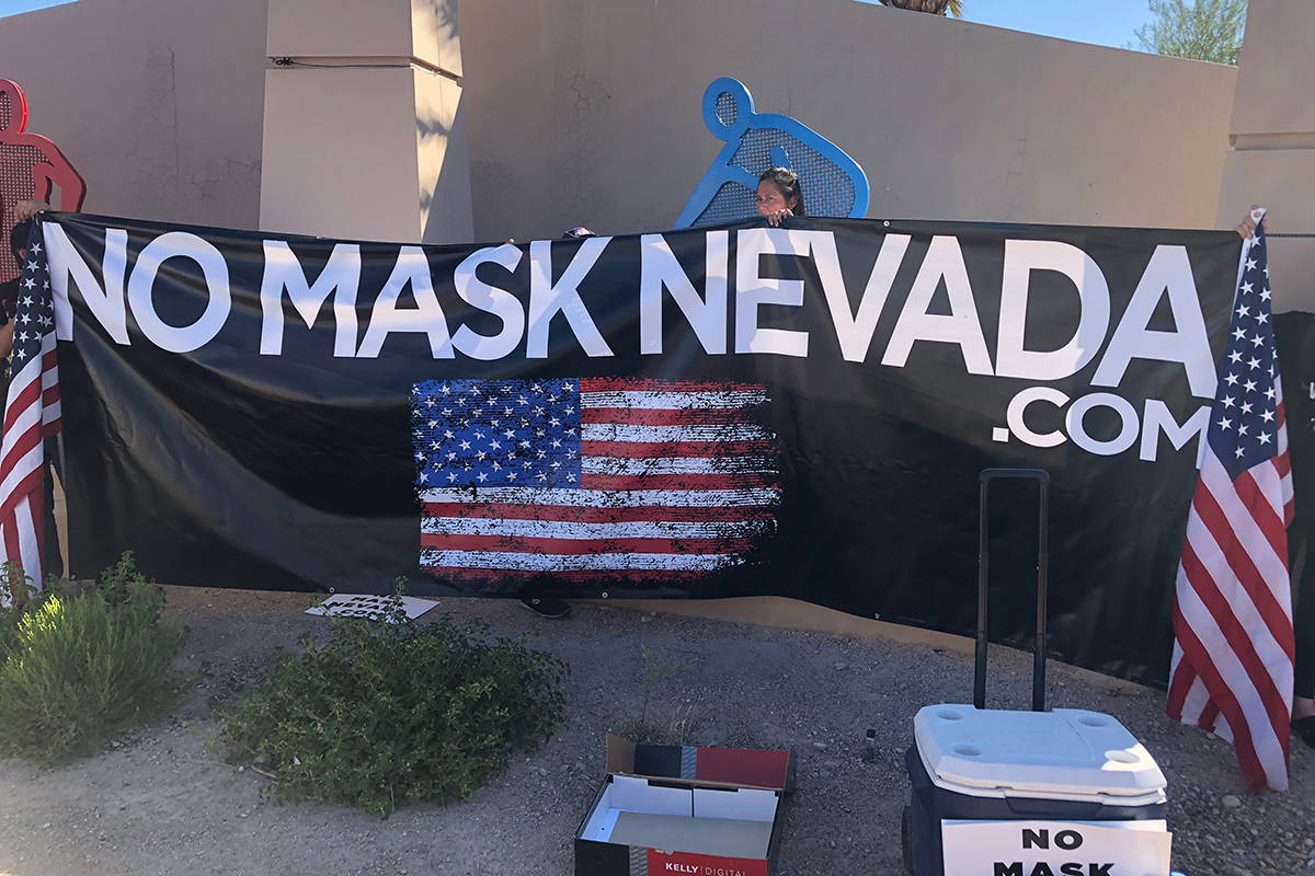 The No Mask Nevada PAC organized a rally Wednesday, July 28, 2020, in Las Vegas. (Le'Andre Fox ...