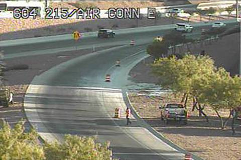A 215 Beltway ramp leading to McCarran International Airport is closed on Wednesday, July 29, 2 ...