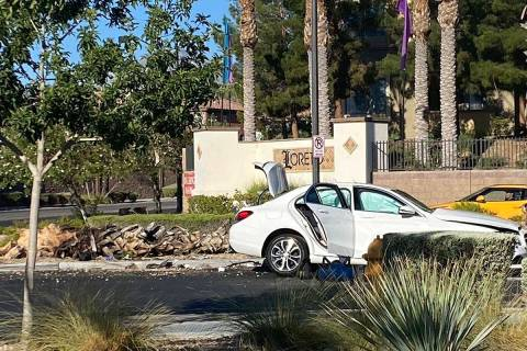 A white Mercedes took out a palm tree and three people went to the hospital with unspecified in ...