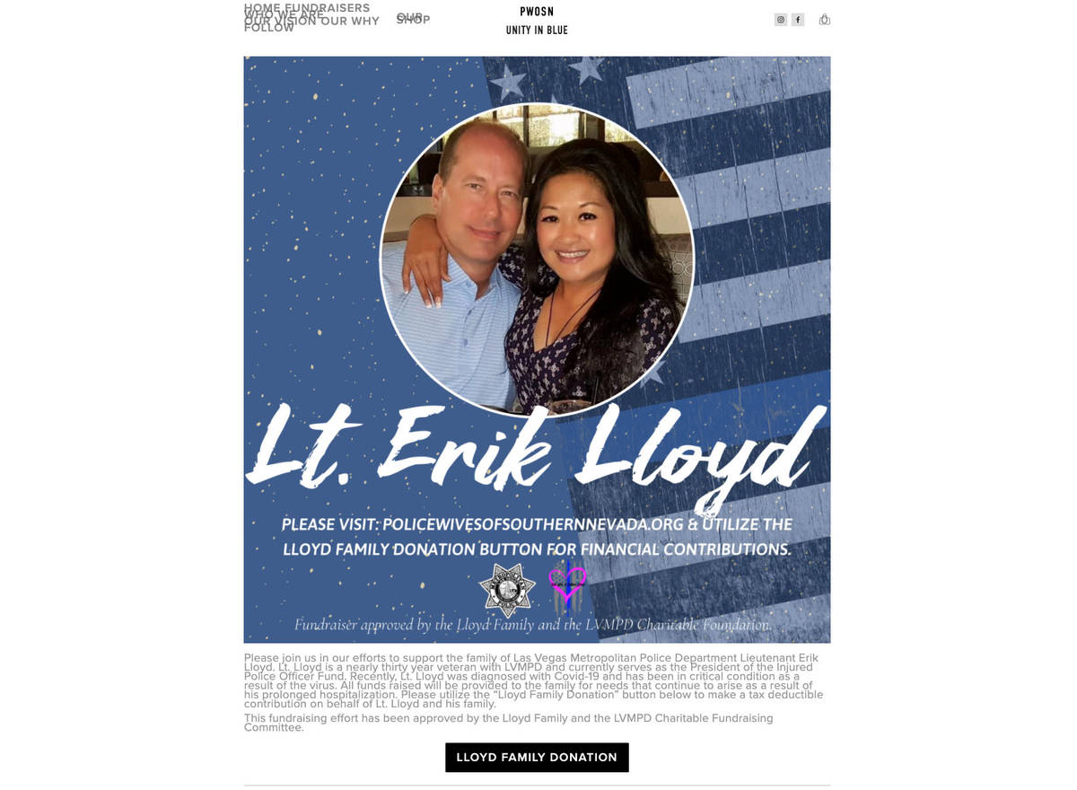 A fundraising page for Metropolitan Police Department Lt. Erik Lloyd is posted to the website o ...