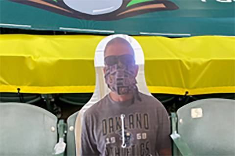 Longtime Oakland Athletics fan Richard Lovelady has a cutboard cutout of himself at A's home ga ...