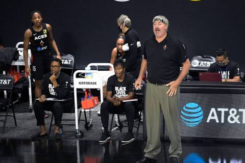 Las Vegas Aces head coach Bill Laimbeer calls out instructions during the first half of a WNBA ...