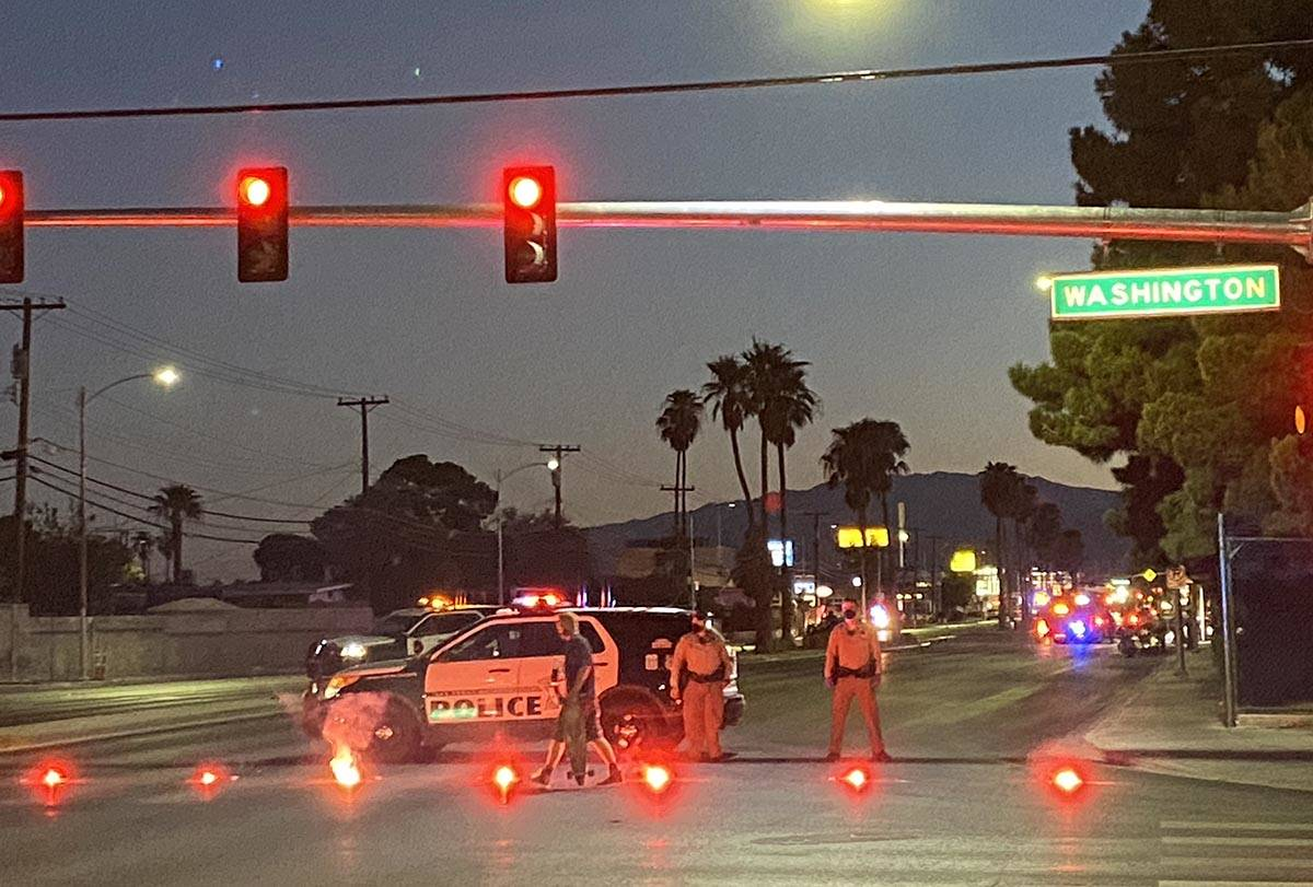 Las Vegas police at a fatal two-vehicle collision that occurred near North Decatur Boulevard an ...