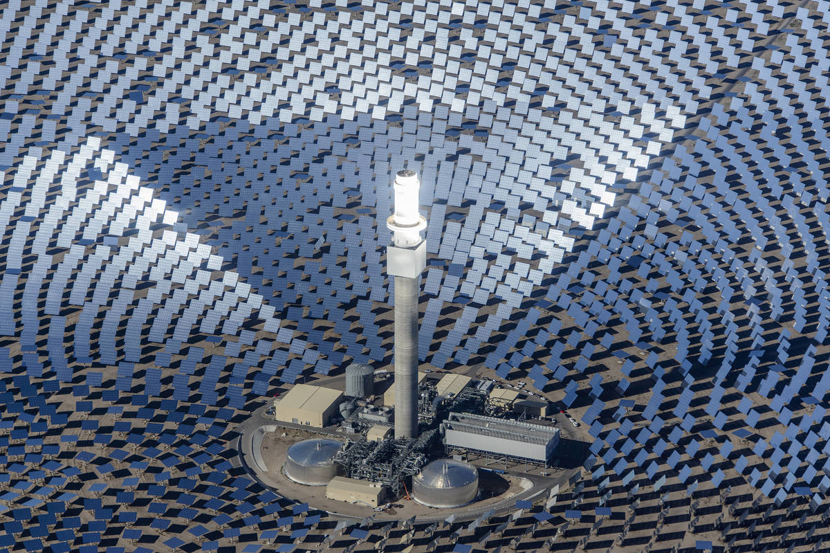 This 2015 file photo shows an aerial view of the Crescent Dunes Solar Energy Plant in Tonopah, ...