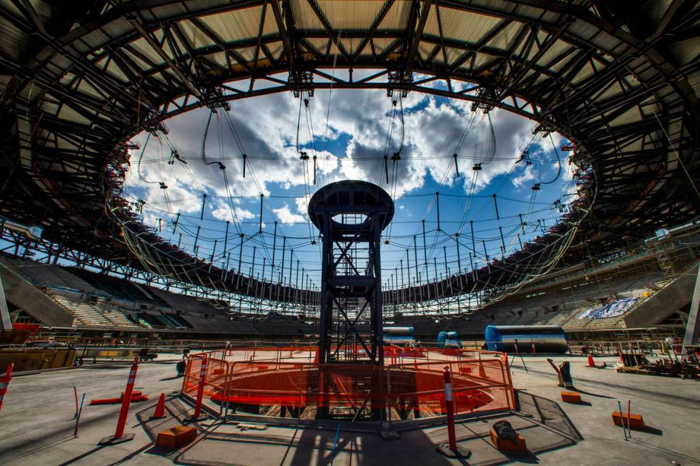 This Nov. 25, 2019, file photo shows construction of the Al Davis memorial torch during an Alle ...