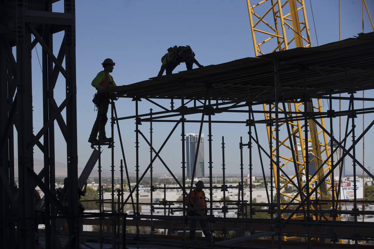 In this Aug. 28, 2019, shows the Raiders Allegiant Stadium construction site in Las Vegas. (Eri ...