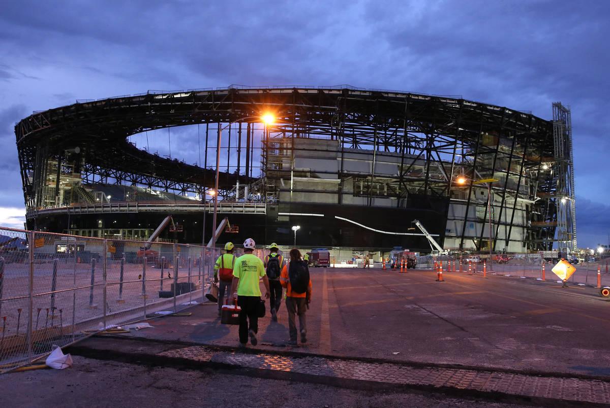 This Sept. 26, 2019, file photo, shows the under-construction Allegiant Stadium in Las Vegas. ( ...