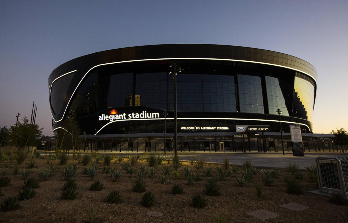 An exterior view of Allegiant Stadium in Las Vegas on Thursday, July 30, 2020. The stadium, hom ...