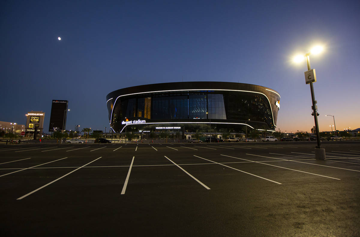 A parking lot at Allegiant Stadium in Las Vegas on Thursday, July 30, 2020. The stadium, home t ...