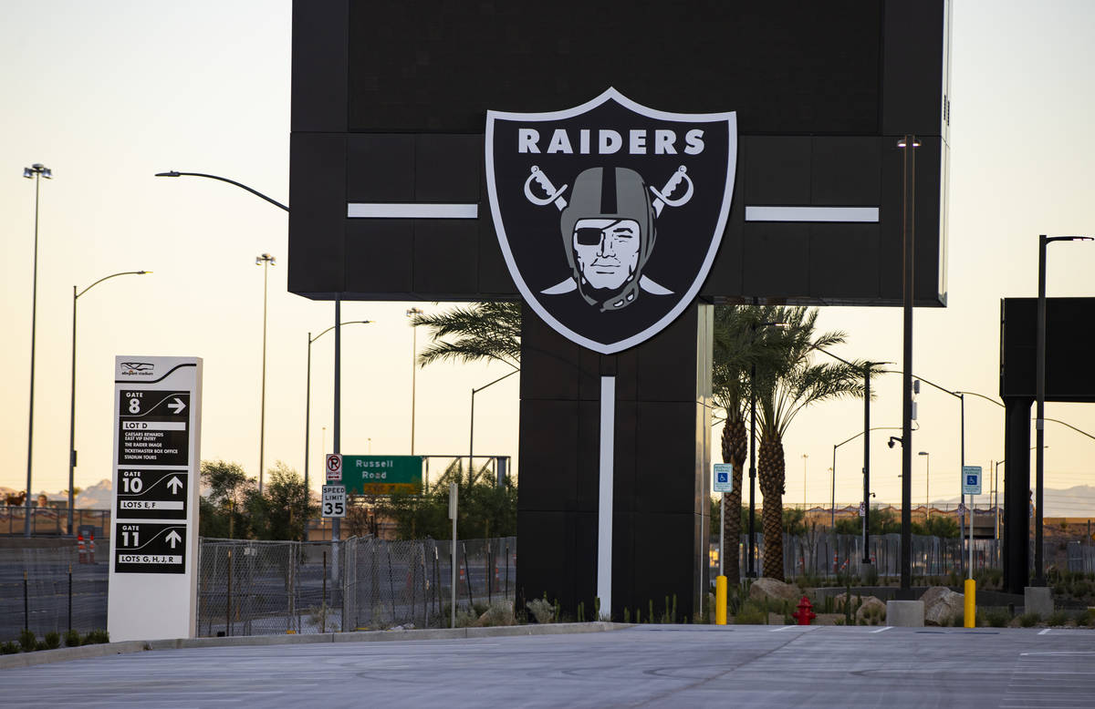 Signage at Allegiant Stadium in Las Vegas on Thursday, July 30, 2020. The stadium, home to the ...