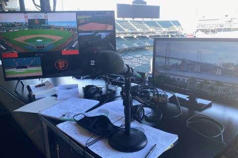 This is the setup at RingCentral Coliseum in Oakland that Ken Korach will use in calling the A' ...