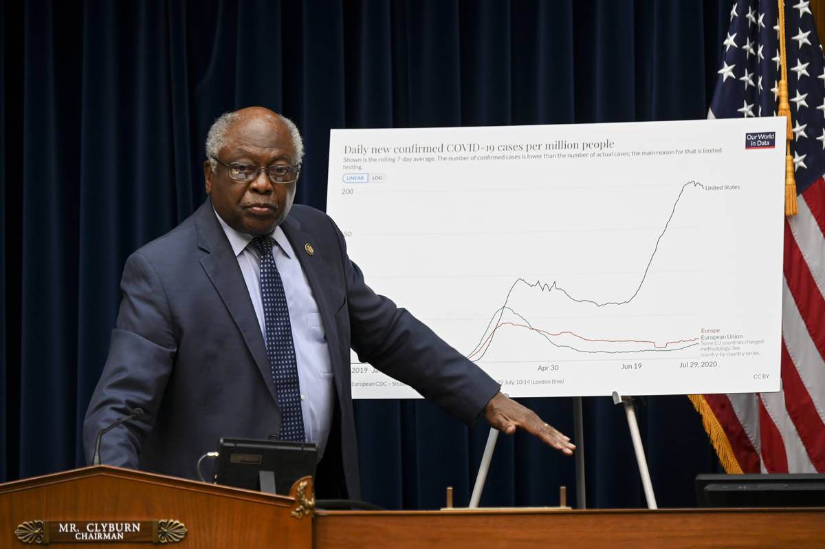 House Majority Whip Rep. James Clyburn, D-S.C., stands during a House Select Subcommittee heari ...