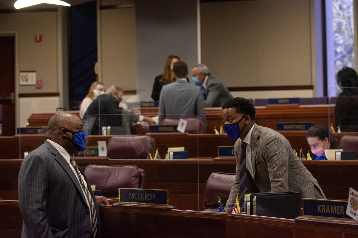 Assembly Speaker Jason Frierson speaks with Will McCurdy II on Saturday, Aug. 1, 2020 during th ...