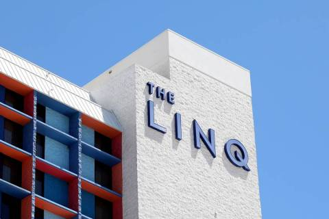 A view of the LINQ Hotel and Casino is seen on the Strip on Friday, Aug. 7, 2020, in Las Vegas. ...