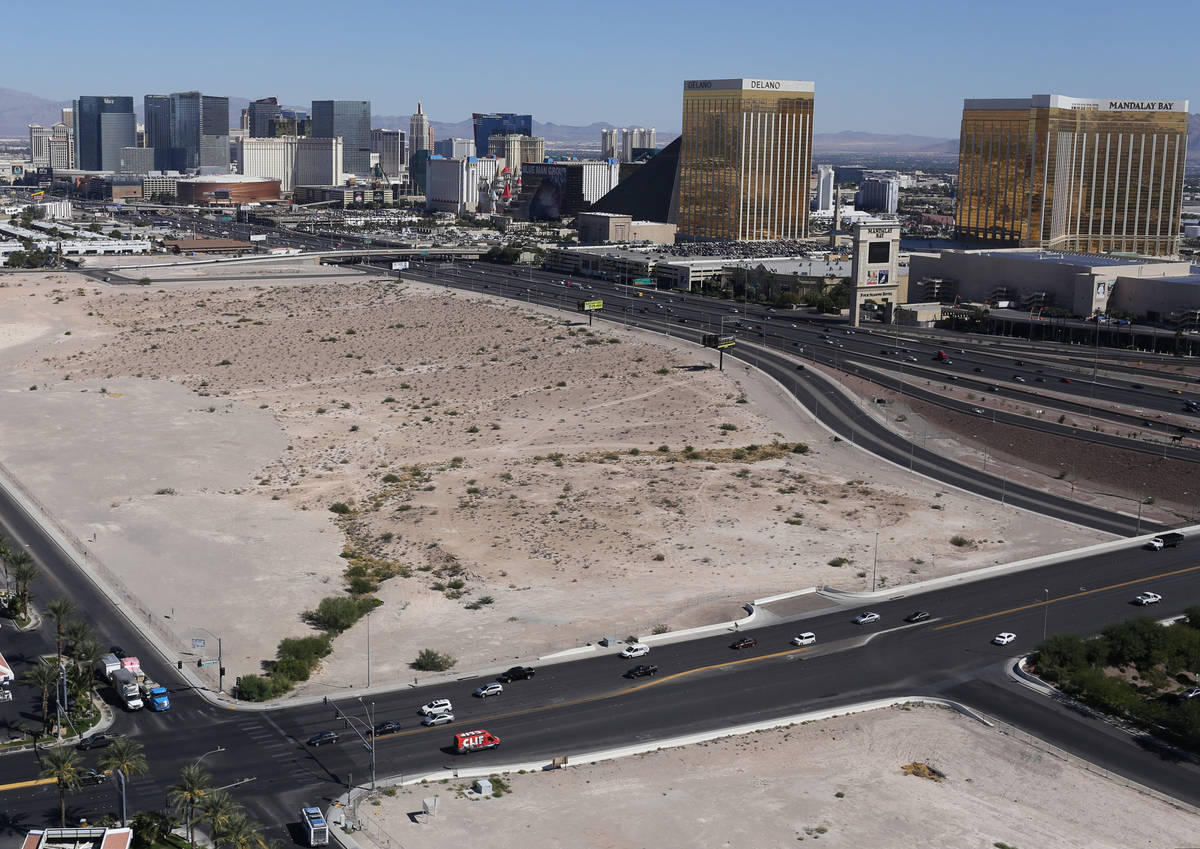 The lot where officials want to build a NFL football stadium to draw the Raiders to Las Vegas i ...