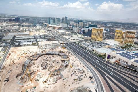 The site of the future Raiders stadium on Wednesday, Aug. 22, 2018, in Las Vegas. Benjamin Hage ...
