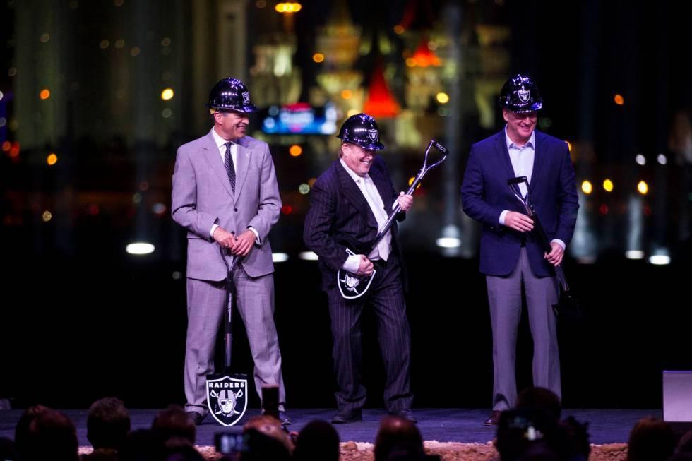 Gov. Brian Sandoval, from left, Raiders owner Mark Davis, and NFL Commissioner Roger Goodell , ...
