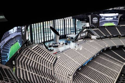 The lanai doors are located behind the Al Davis Memorial Torch at Allegiant Stadium on Friday, ...