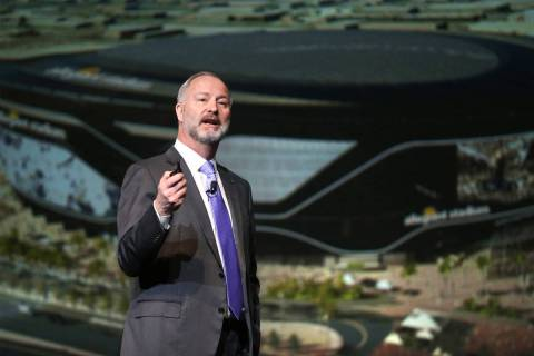 Steve Hill, president and CEO of the Las Vegas Convention and Visitors Authority, speaks during ...