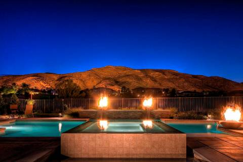 This geometric pool has fire features and a spa. (Premier Pools and Spas)