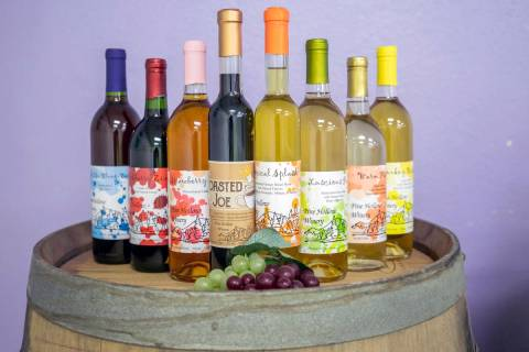 Craft bottle wines from Pine Hollow Winery. (Elizabeth Brumley/Las Vegas Review-Journal)