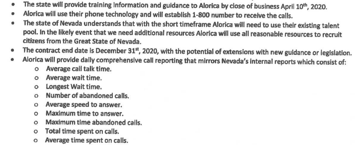 "Excerpt from Alorica's ""Source of Work"" page within its contract with DETR."