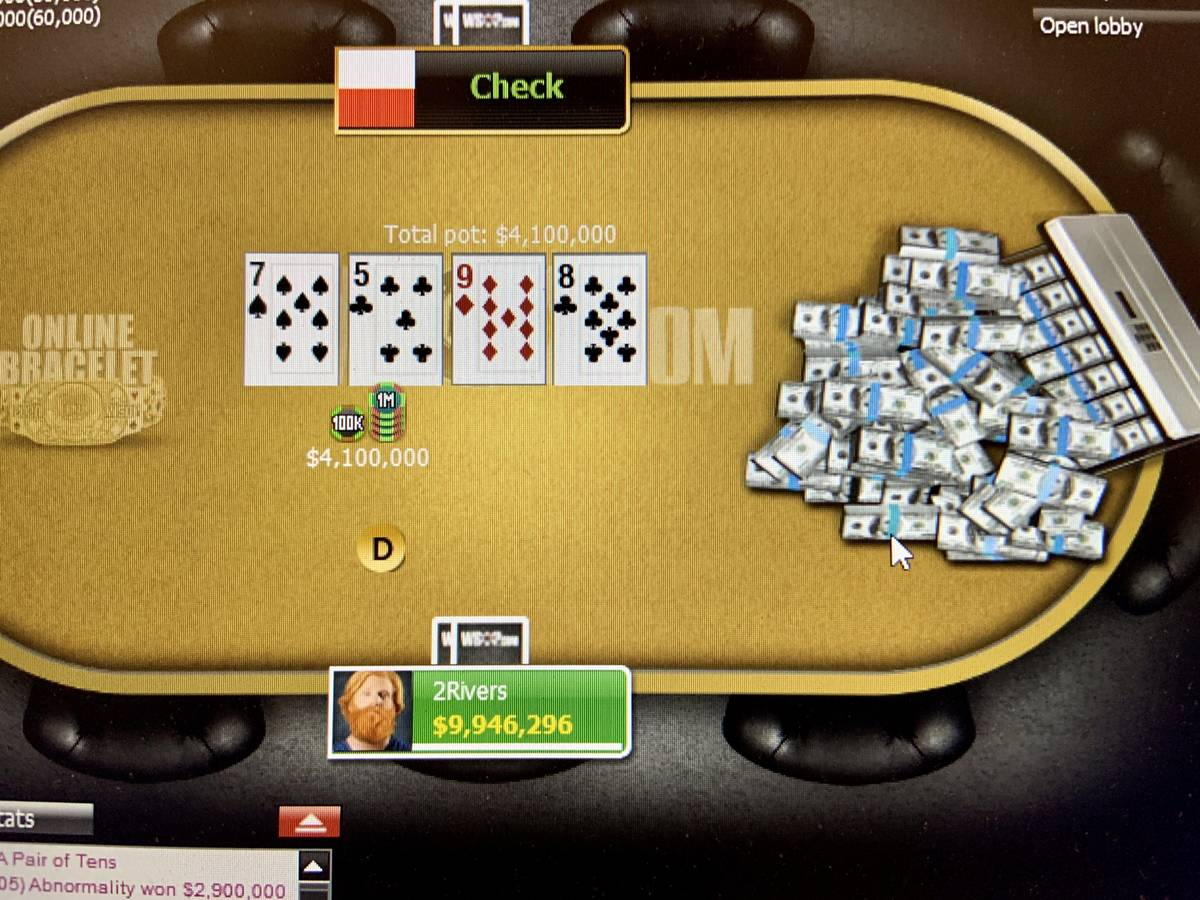 Players with the screen names 2Rivers and Abnormality play heads-up for the bracelet in Event 3 ...
