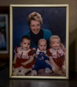 Photo of Phyllis Wyant with her grandchildren in the home of her relatives Tracy and David LaMo ...