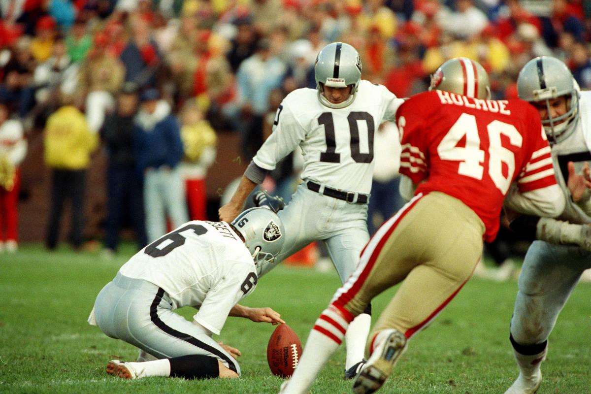 Los Angeles Raiders kicker Chris Bahr kicks the second of three field goals in the Raiders 9-3 ...