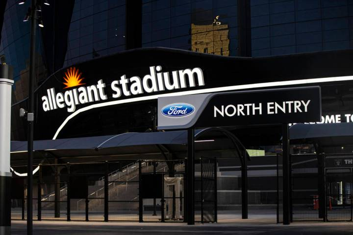 The north entry area at Allegiant Stadium in Las Vegas on Thursday, July 30, 2020. The stadium, ...