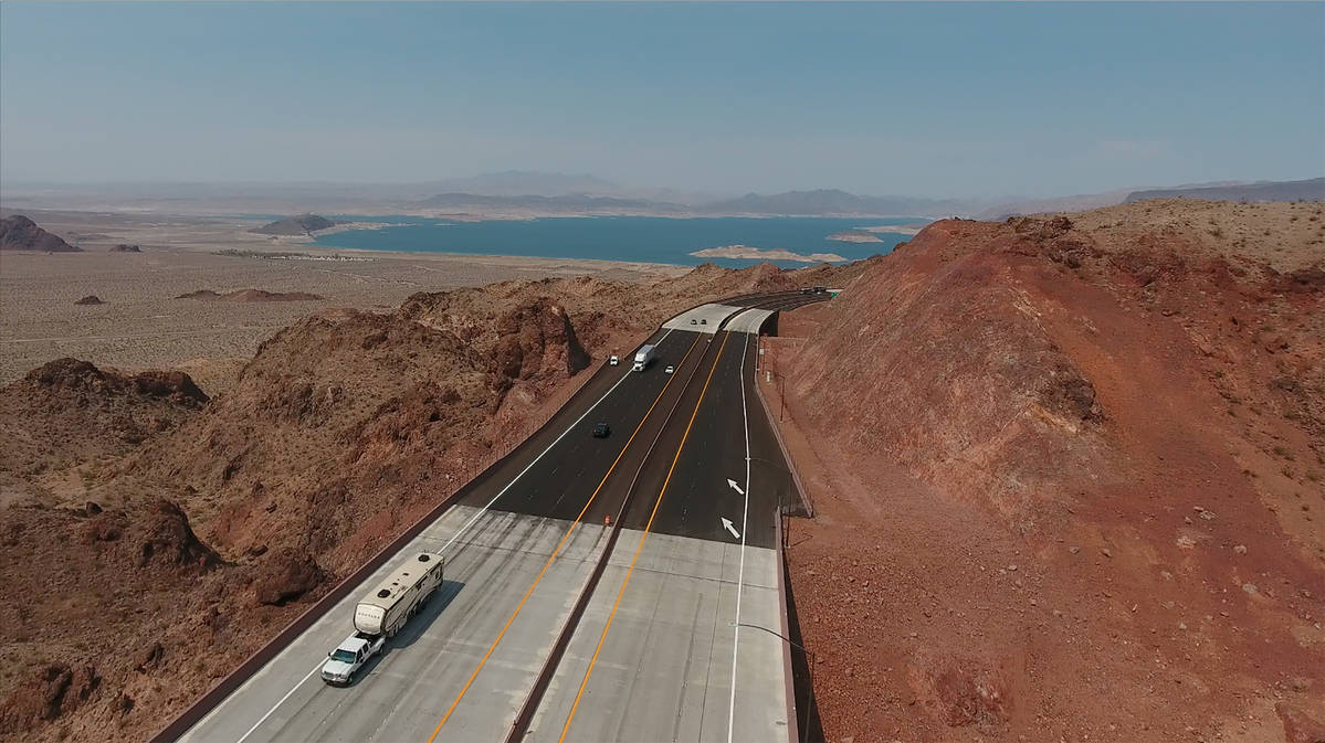 A segment of the new Interstate 11 near the scenic turnout that offers views of Lake Mead as se ...