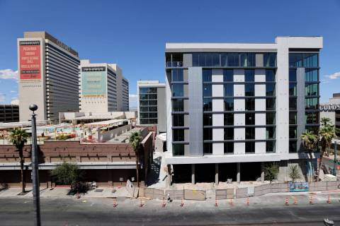 The Gallery Tower expansion, right, at the Downtown Grand in Las Vegas Friday, July 31, 2020. T ...
