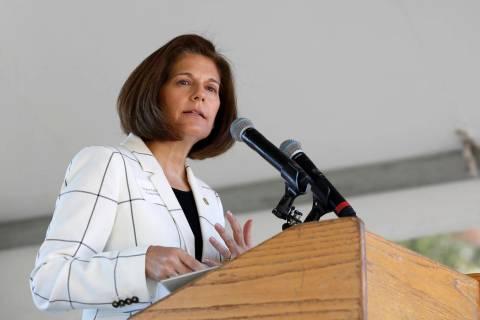 U. S. Sen.Catherine Cortez Masto, D-Nevada, speaks at the 23rd Annual Lake Tahoe Summit, Tuesda ...