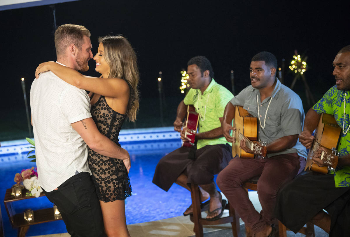 "Weston Richey and Emily Salch dance during the August 6, 2019, episode of ""Love Island."" (Colin ..."