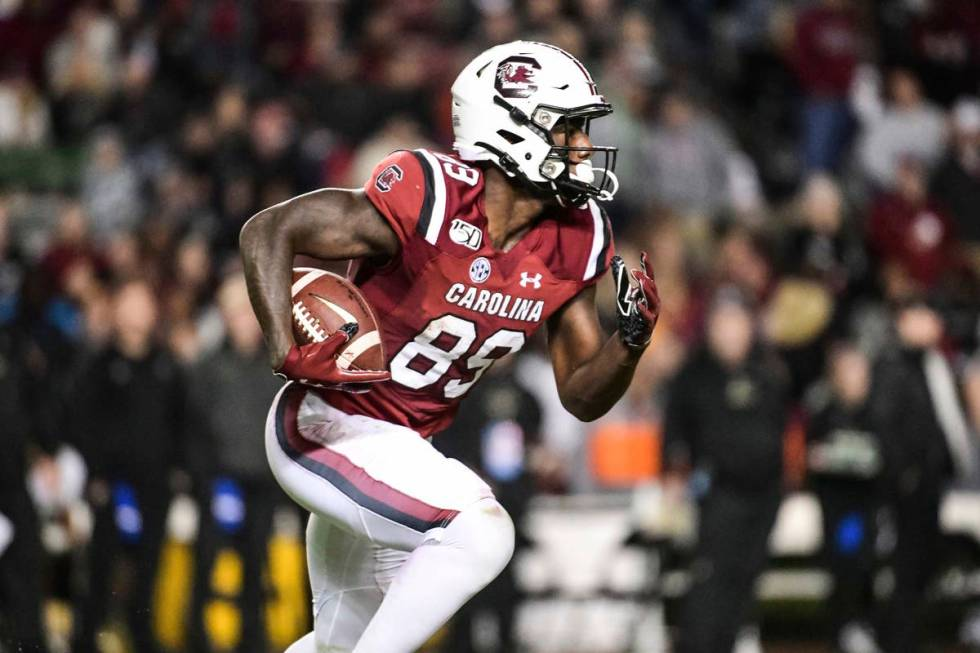 South Carolina wide receiver Bryan Edwards (89) returns a kick during the second half of an NCA ...
