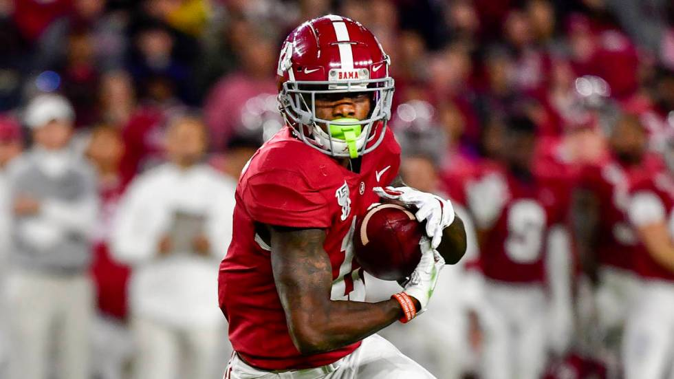 Alabama wide receiver Henry Ruggs III in an NCAA football game Saturday, Nov. 9, 2019, in Tusca ...