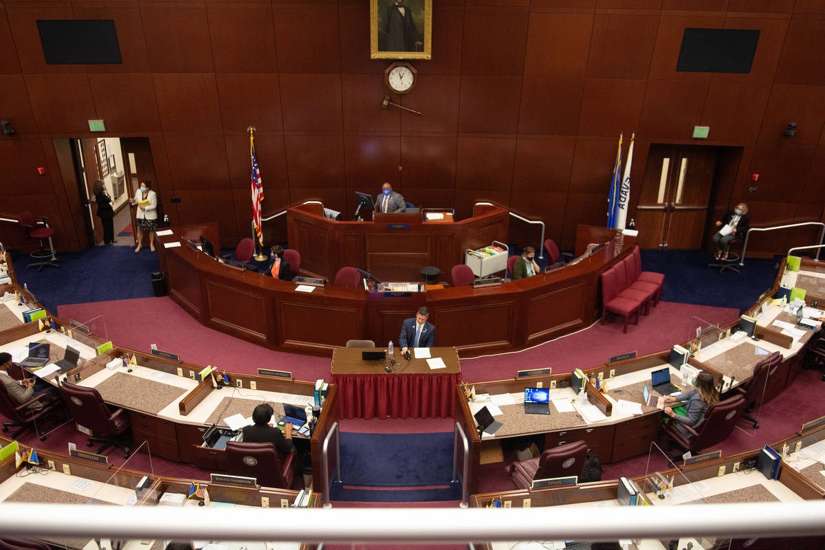 Assembly Speaker Pro Tempore Steve Yeager prepares to present Assembly Bill 3 on Saturday, Aug. ...