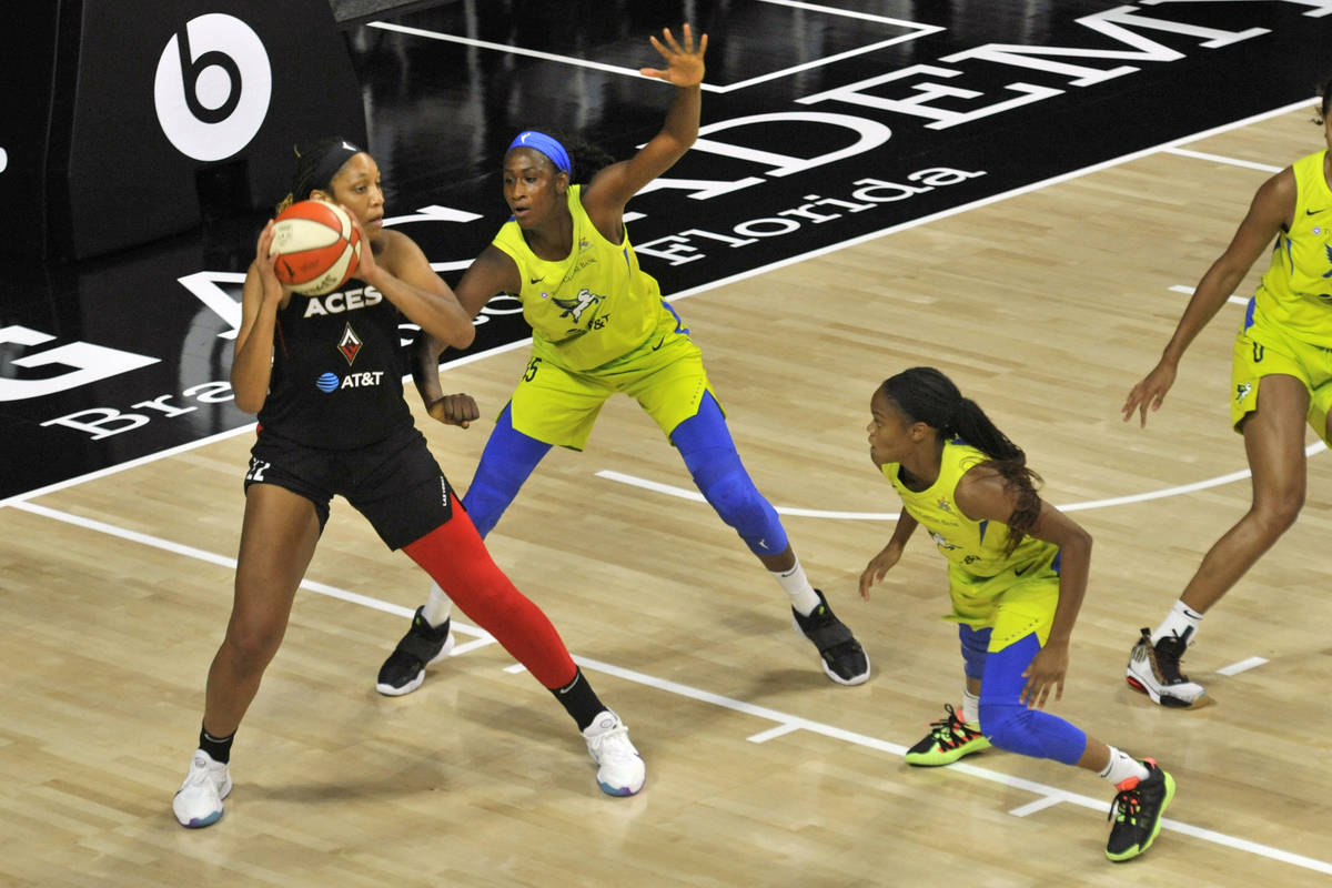 Las Vegas Aces' A'ja Wilson, left, looks to pass while under pressure from Dallas Wings' Astou ...