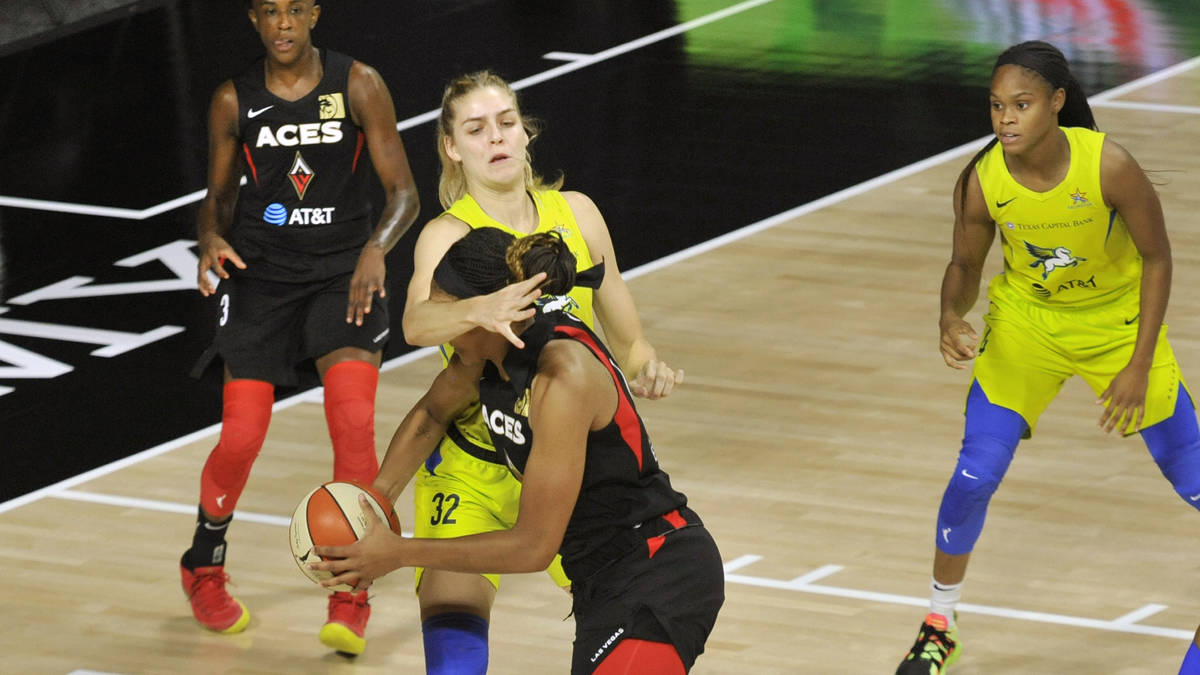 Las Vegas Aces' Danielle Robinson, left, and Dallas Wings' Moriah Jefferson, right, watch as Wi ...
