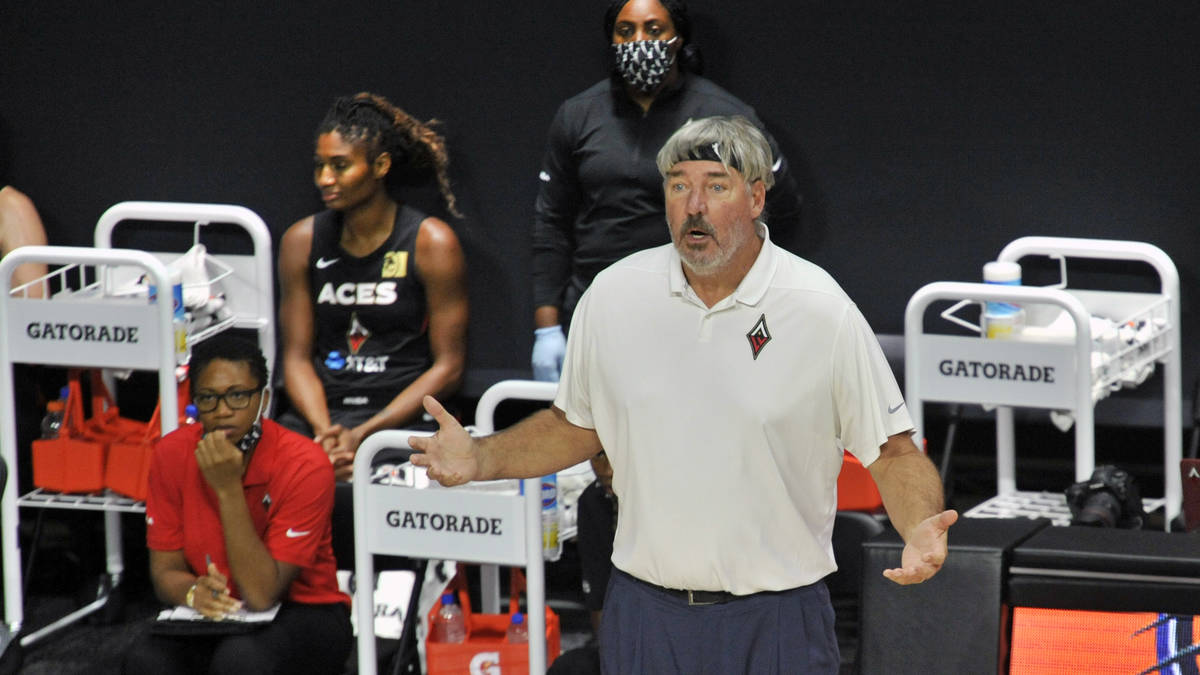 Las Vegas Aces coach Bill Laimbeer questions a call during the first half of the team's WNBA ba ...